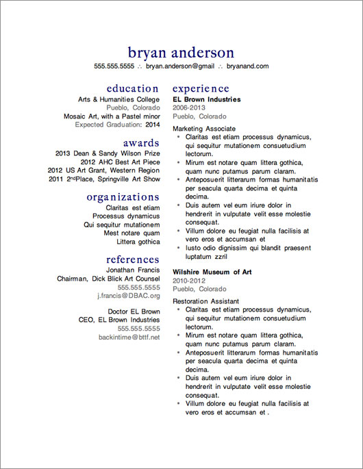 Two Column Resume  Good Resume Templates Free