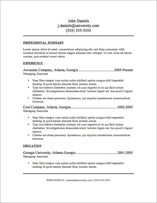Templates For Resume. Simple Resume Templates: 73 Clean Samples ...