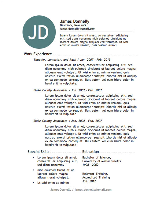 resume 4 resume templates for free