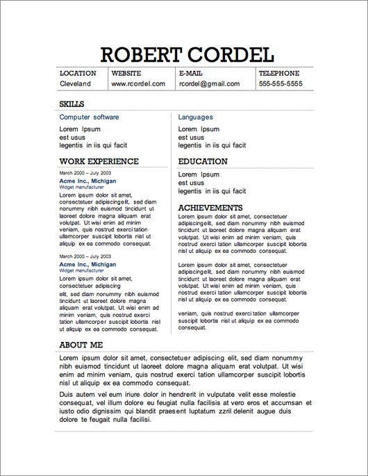 Two Column Resume Template  Example Resume Layout
