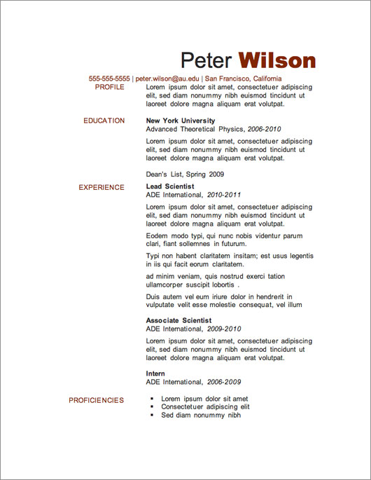 Nice One Page Resume Template