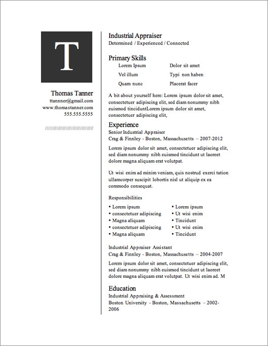Resume Templates For Microsoft Word Free Download