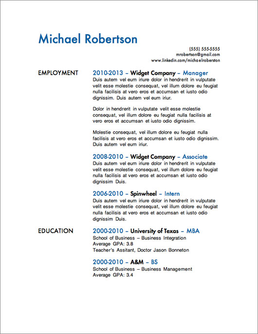 simple one page resume design - Short Resume Template