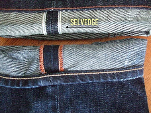 Close up of selvedge denim vs regular denim