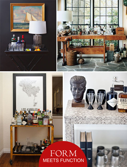 Collage of interior design items for bar cart