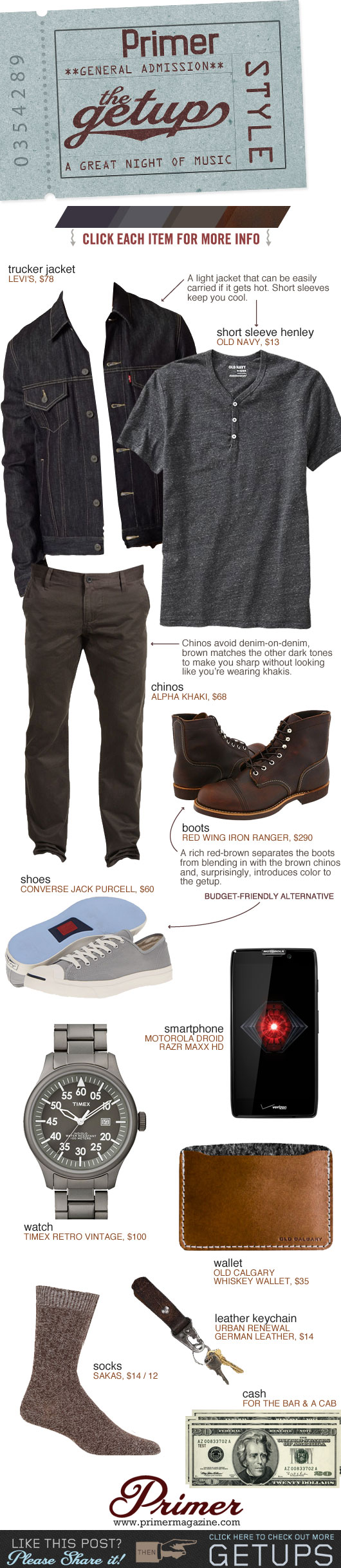 Getup A great Night of Music - Trucker jacket, gray henley, brown pants, iron ranger boots or sneakers