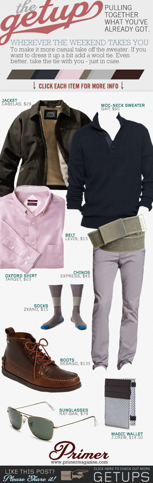 Getup - Wherever the weekend takes you - green jacket, blue sweater, pink shirt, gray pants