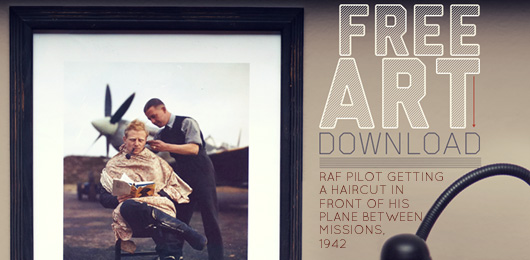 free art RAF pilot getting haircut