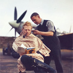 Free Art Download: RAF Pilot Getting a Haircut Between Missions, 1942