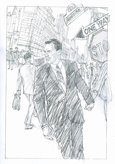 A pencil drawing of Jon Hamm