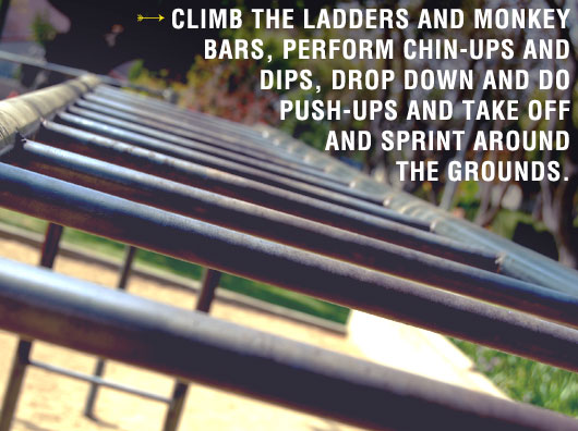 Climb the ladders and monkey bars text quote