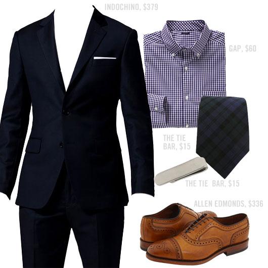 Outfit with suit, purple shirt, tie and Allen Edmonds shoes