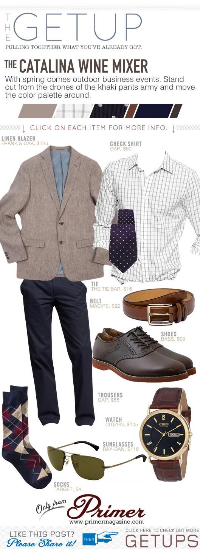 Getup Catalina Wine Mixer - Tan blazer, check shirt, navy pants, brown shoes