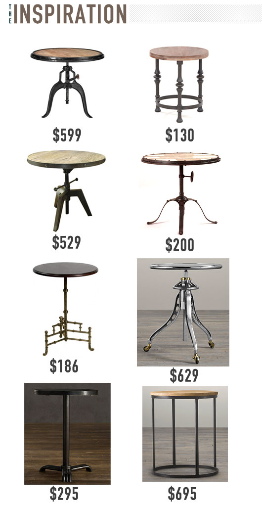 A collage of side table inspiration