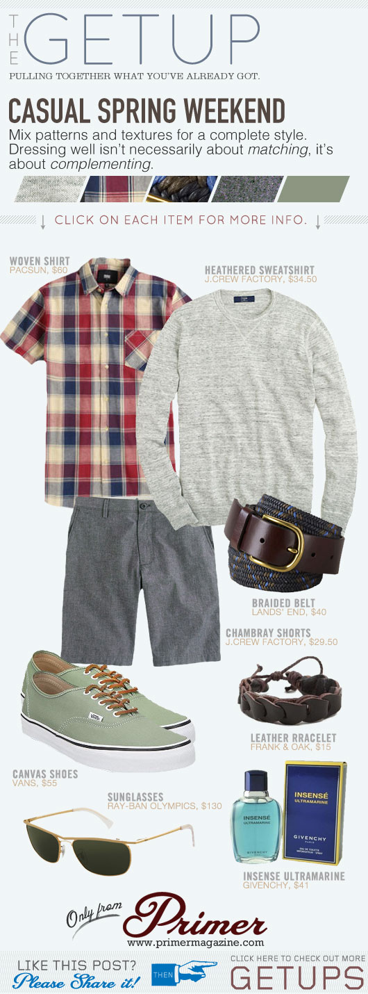 Getup Casual Spring Weekend - Gray sweater, short sleeve shirt, gray shorts, canvas sneakers