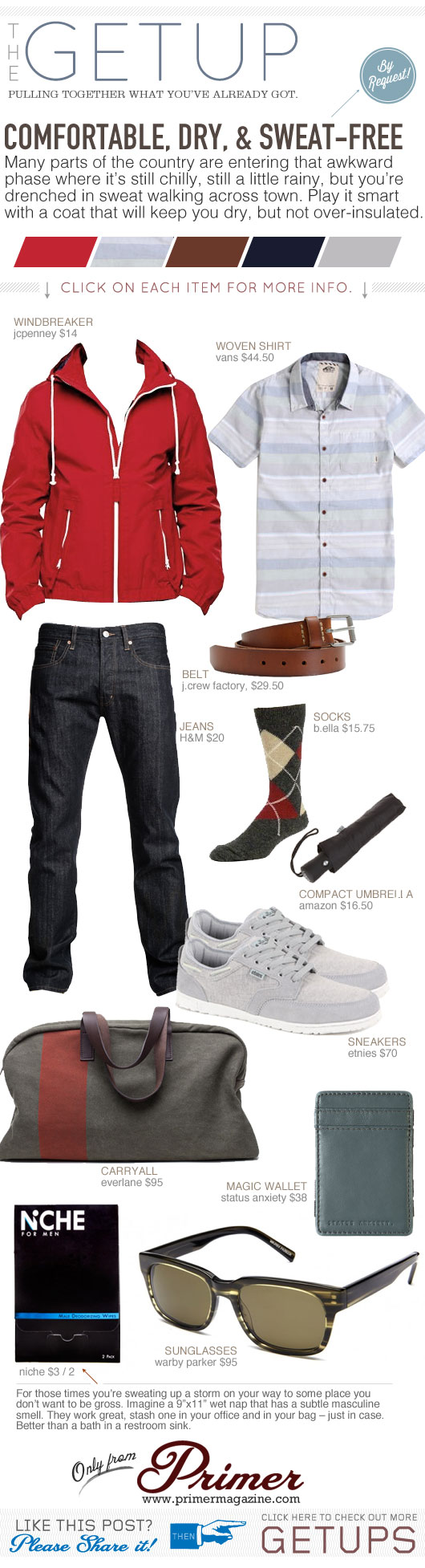 Getup - Comfortable, dry, and sweat-free - red jacket, button up shirt, blue jeans, gray sneakers