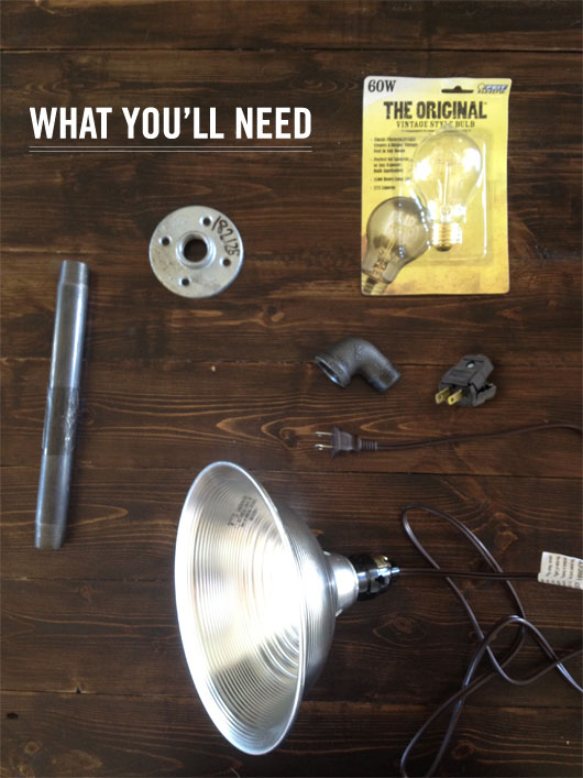 the parts for making diy industrial light