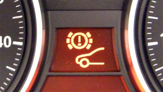 Close up of brake light on dash