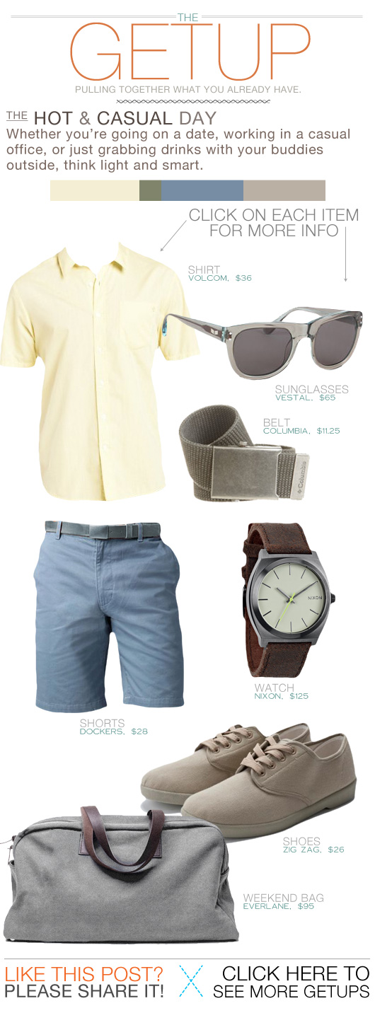 Getup Hot and Casual Day - Yellow shirt, blue shorts, watch, tan sneakers