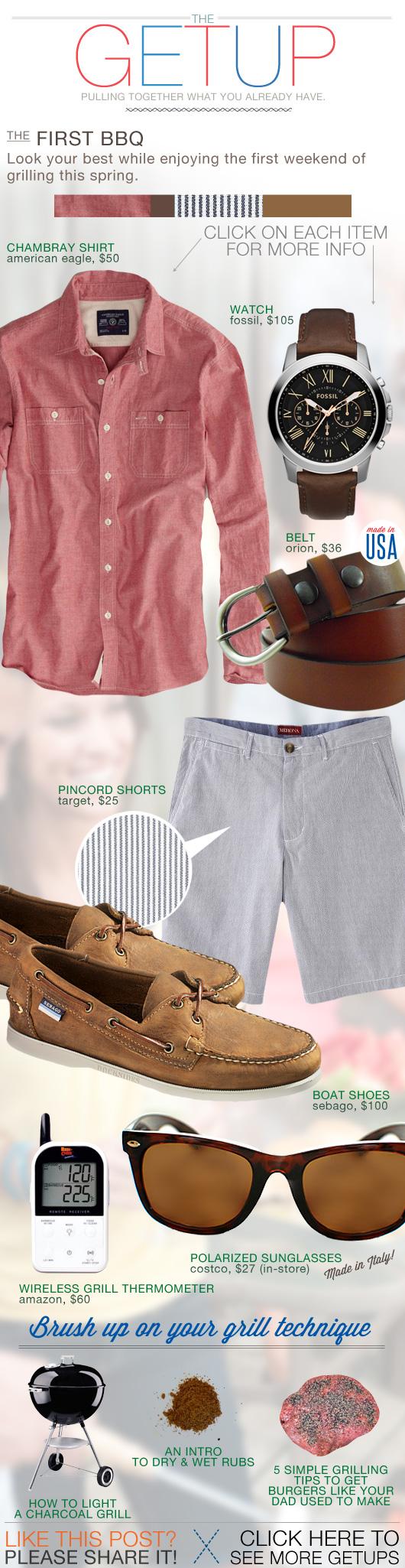 Getup First BBQ - pink chambray shirt, pincord shorts, brown boat shoes