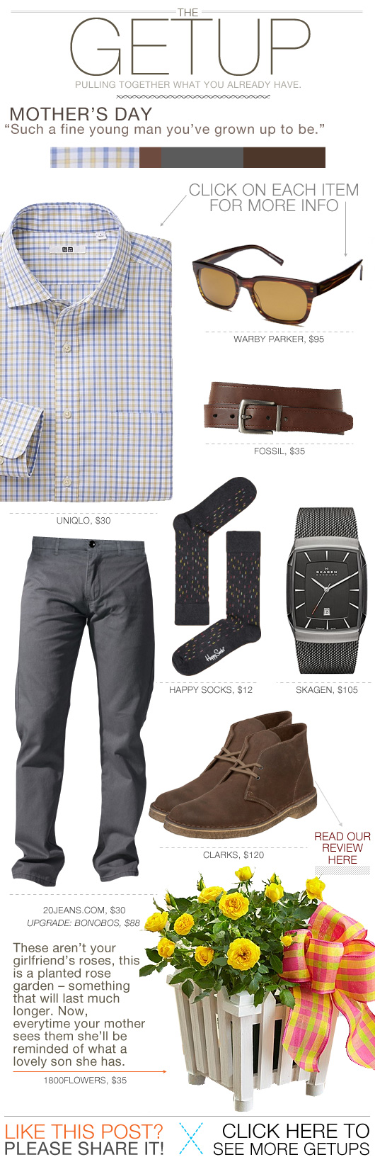 Getup Mothers Day - Check shirt, gray pants, desert boots