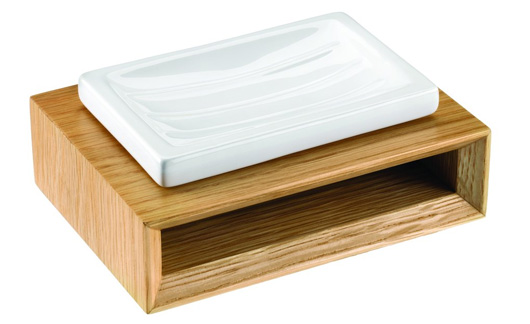 Soap dish with wooden stand