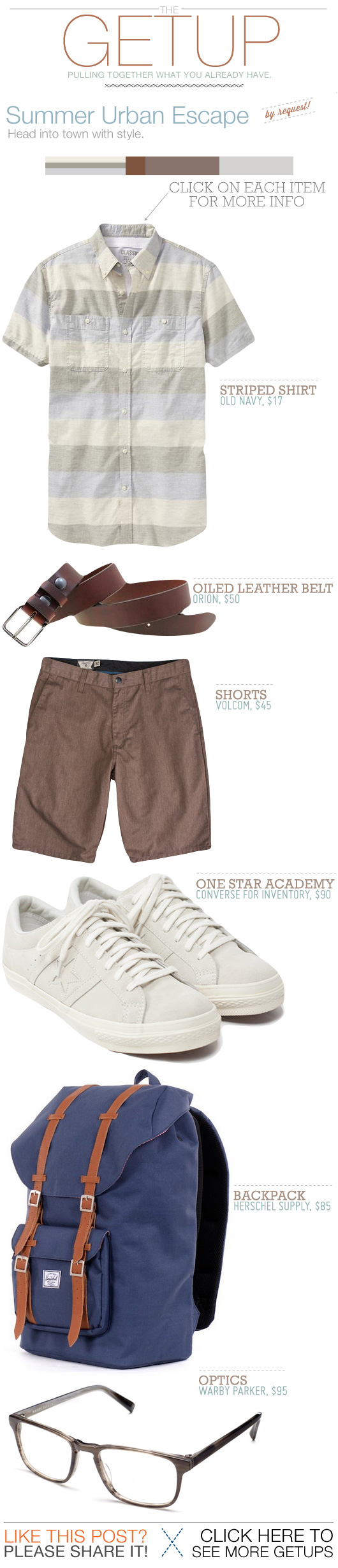 Getup Summer Urban Escape - striped shirt, brown shorts, white sneakers