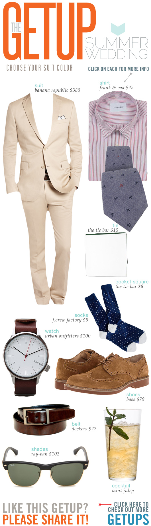 Getup Summer Wedding - Tan suit, pink shirt, blue tie