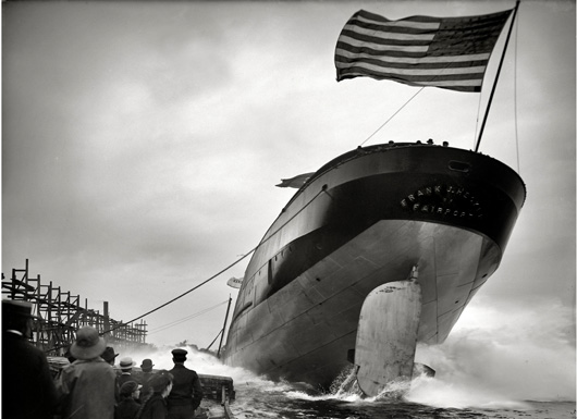 Frank J Hecker ship with flag