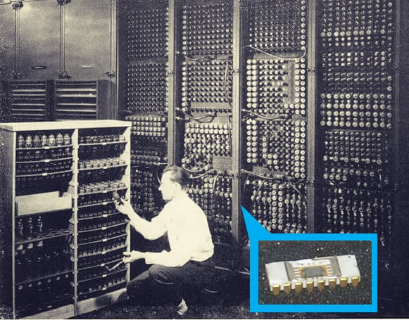 The Intel 4004 chip, compared to the ENIAC.