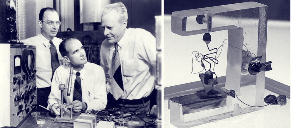Left: The inventors of the transistor at Bell Labs, John Bardeen, William Shockley and Walter Brattain in 1948. Right: The first transistor