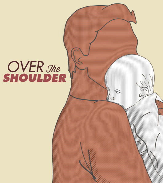 Diagram of over the shoulder hold for baby