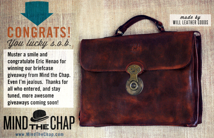 Mind the Chap briefcase giveaway winner Primer