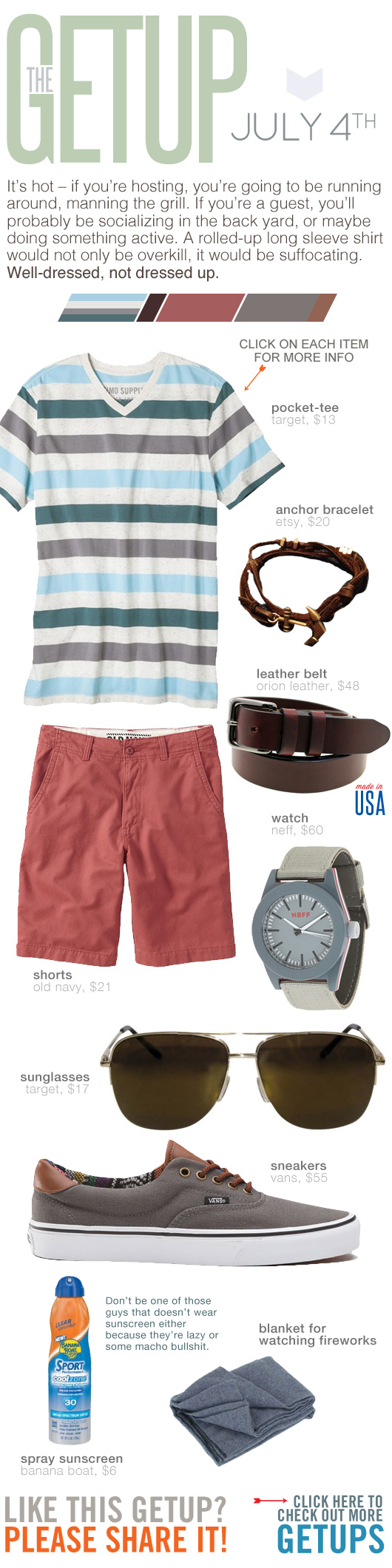 Getup July 4th - Striped t-shirt, pink shorts, gray sneakers
