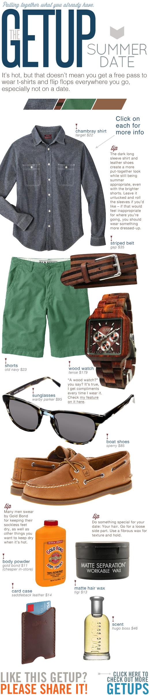 Getup Summer Date - Blue Shirt, Green Shorts, wooden watch, sunglasses