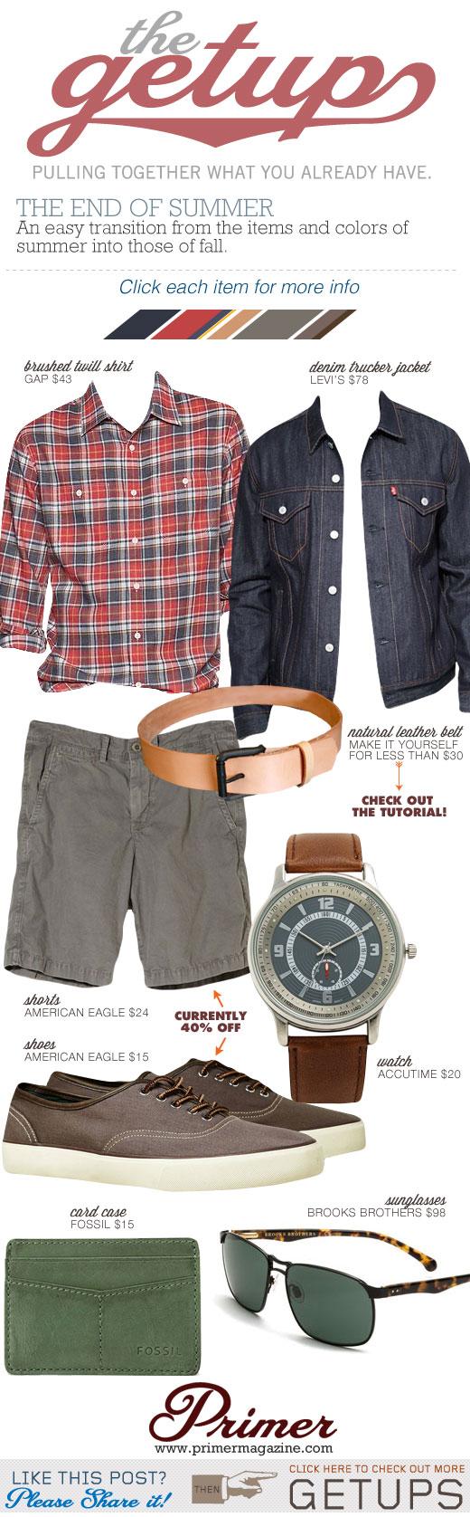 Getup End of Summer - Denim trucker jacket, red plad shirt, gray shorts, tan belt