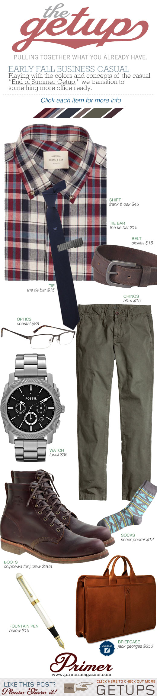 Getup - Early Fall Business Casual - Red plaid shirt, blue tie, olive chinos, glasses