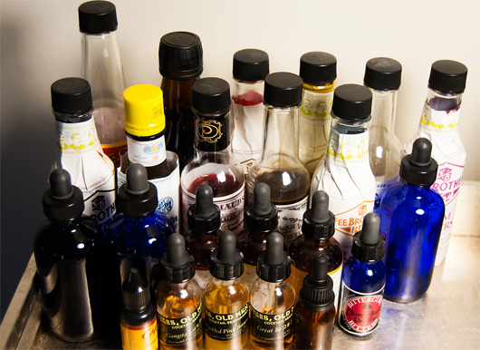 A collection of homemade bitters