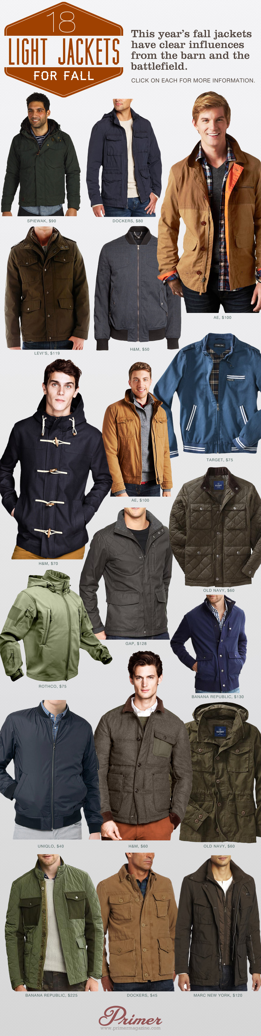 A collage of 18 light jackets for fall