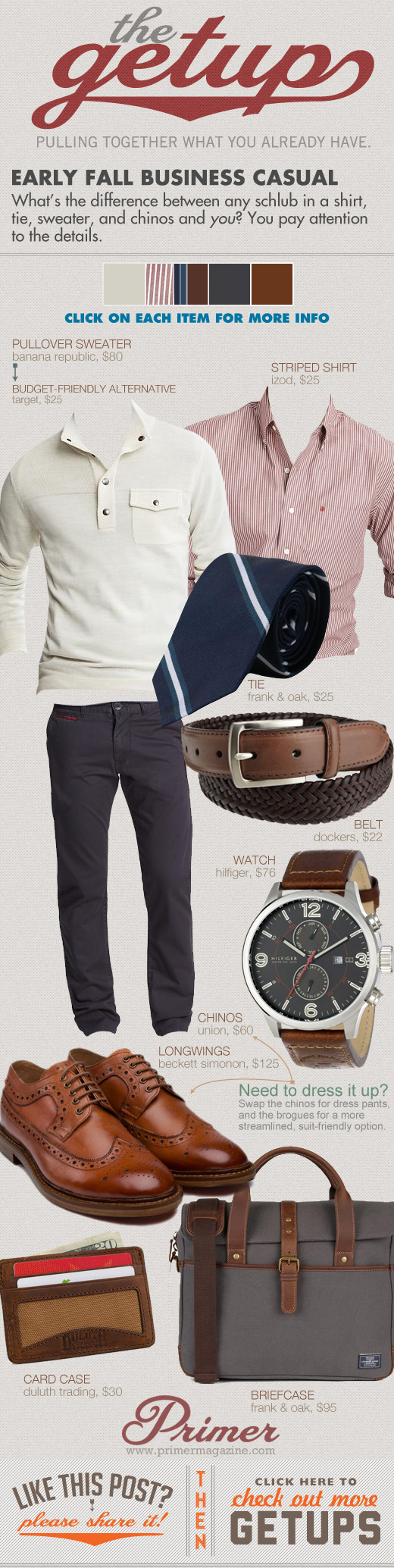 Early Fall Business Casual Getup - white sweater, pink shirt, blue tie, gray pants