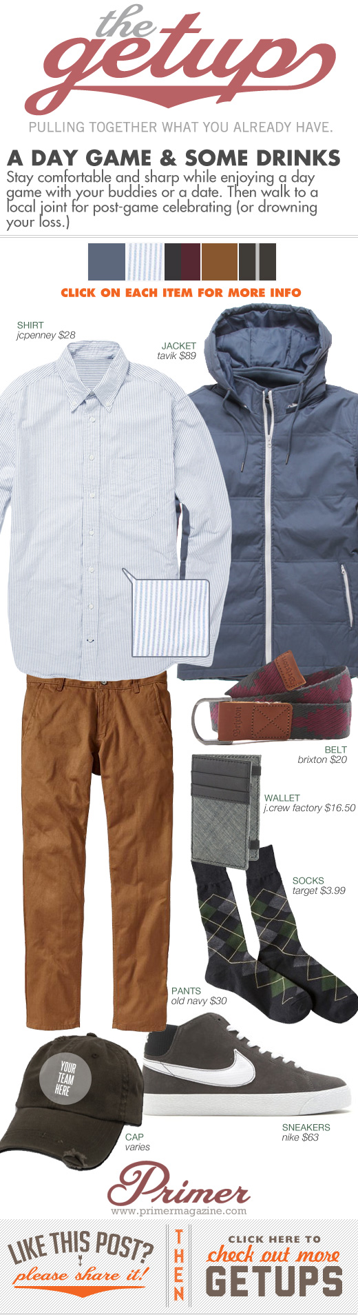 Getup A Day Game and some Drinks - Nylon jacket, striped shirt, brown pants