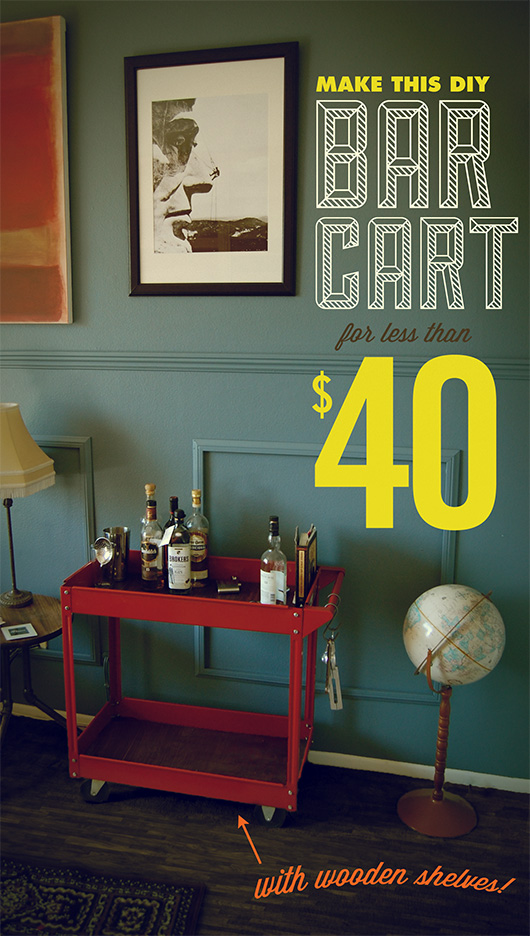 make this diy industrial bar cart for less than  40