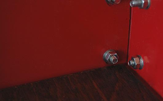 Close up of bar cart bolts