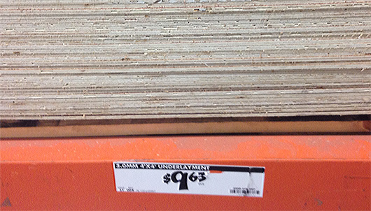 Wood underlayment with price tag