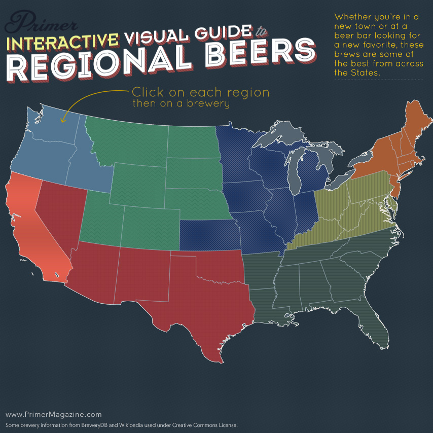 Primers Interactive Visual Guide To Regional Beers Primer - Beer Map Of The Us