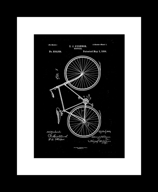 Bicycle patent art print