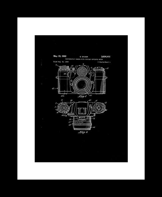Camera patent art print
