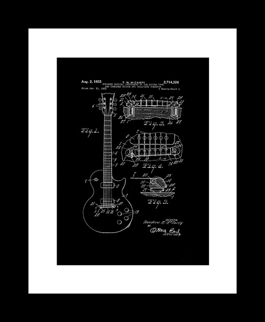 Electric guitar patent art print