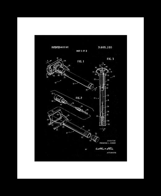 Razor patent art print