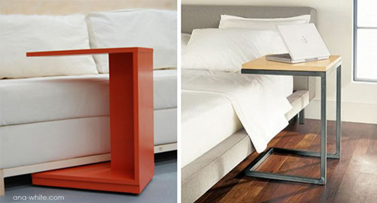 Side tables next to couches and bed